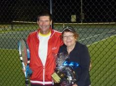 Ben ;Johnson, men's winner with Lynne Blake, ladies winner at the tournament under the lights.
